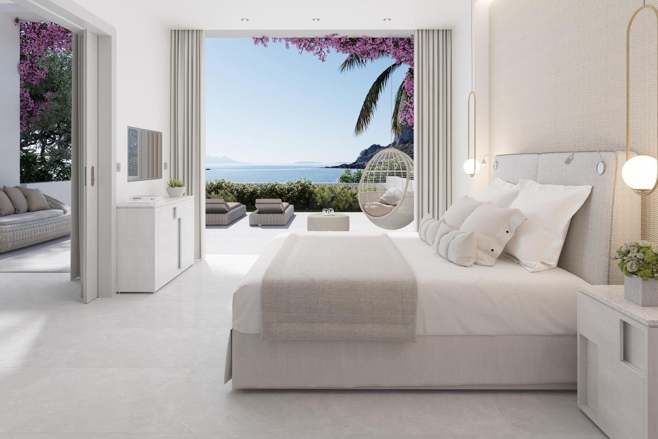 Suite (1 slaapkamer) met privé tuin - Zeezicht
